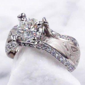 Ring Wood Eye Metal 3 Carats Engagement Diamond